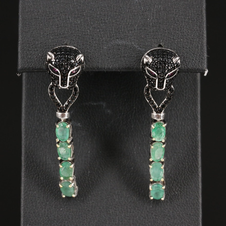 Sterling Ruby, Cubic Zirconia and Emerald Feline Door Knocker Earrings