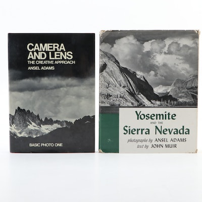 "Ansel Adams Signed ""Camera and Lens"" with ""Yosemite and the Sierra Nevada"""