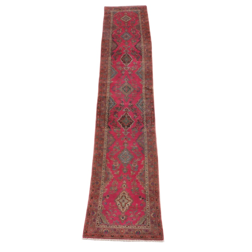 2'7 x 13'5 Hand-Knotted Persian Yazd Wool Carpet Runner