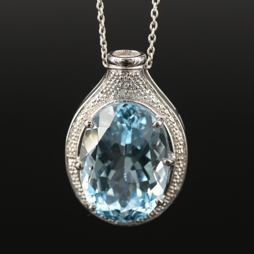 Sterling Silver Topaz and Diamond Slide Pendant Necklace