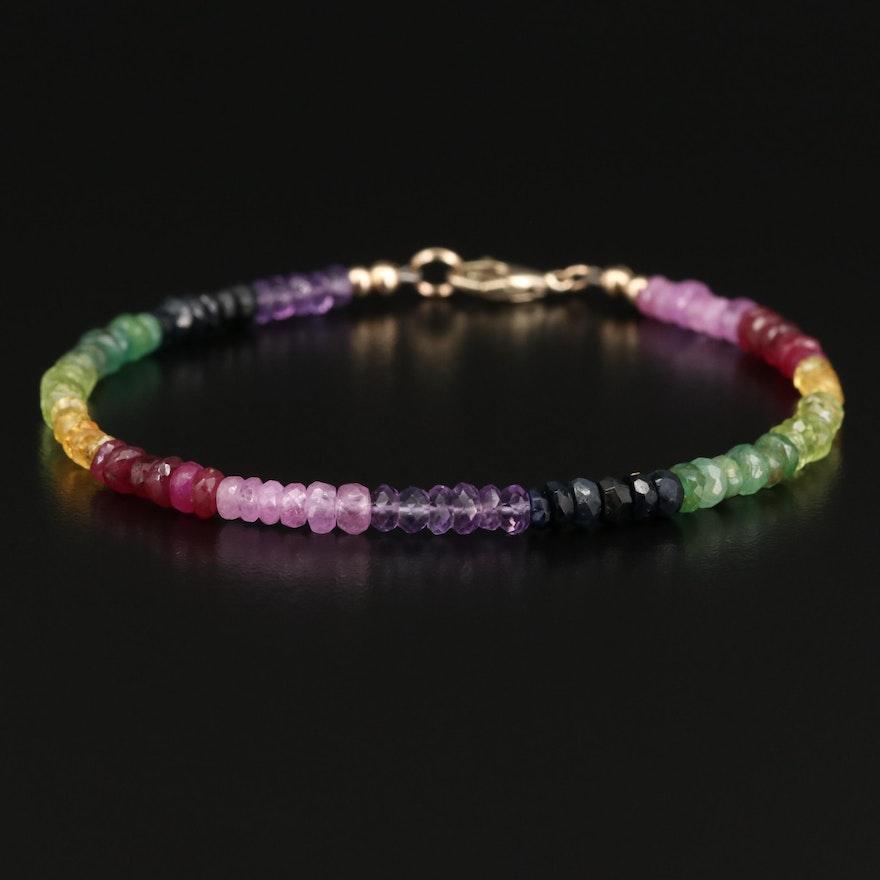 14K Sapphire, Ruby, Tourmaline and Amethyst Bead Bracelet