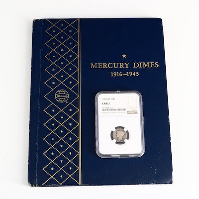 Mercury Silver Dimes in Whitman Album, Including Key Dates and NGC Graded 1916-D