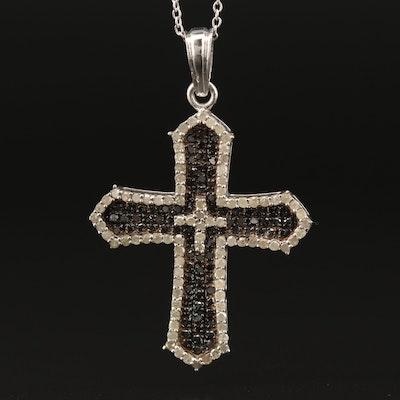 Sterling Silver 1.50 CTW Pavé Diamond Cross Necklace