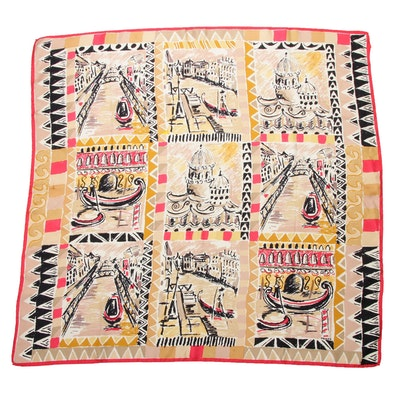 Prada Patterned Silk Scarf