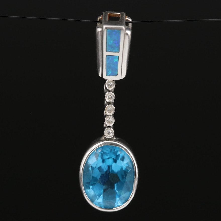 14K Topaz, Diamond and Opal Doublet Inlay Pendant