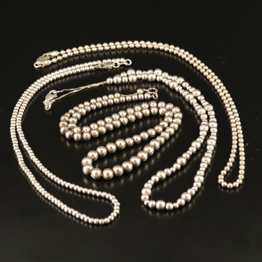 Assortment of Sterling Silver of Beaded Necklaces