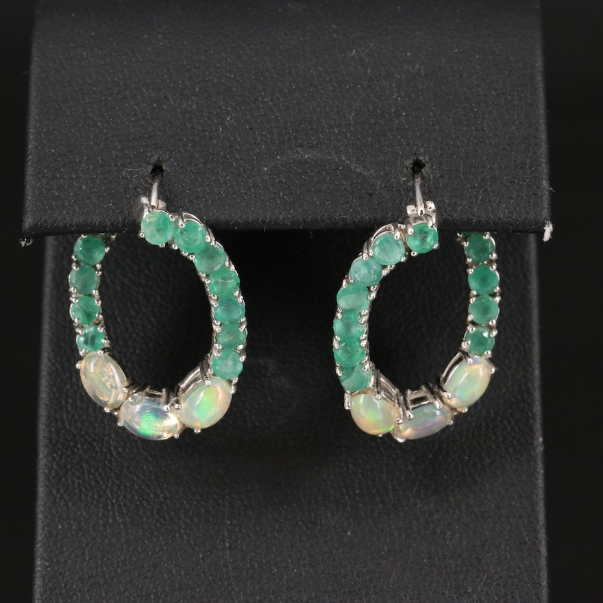 Sterling Emerald and Opal Hoop Earrings