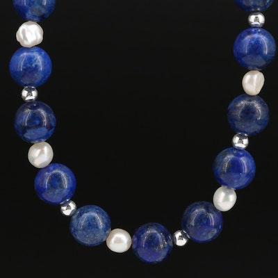 Sterling Lapis Lazuli and Pearl Graduated Necklace