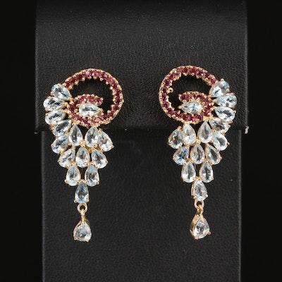 Sterling Aquamarine and Rhodolite Garnet Cluster Earrings