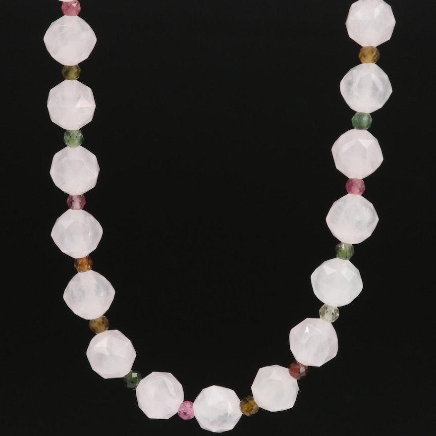 Sterling Rose Quartz, Tourmaline and Cubic Zirconia Necklace
