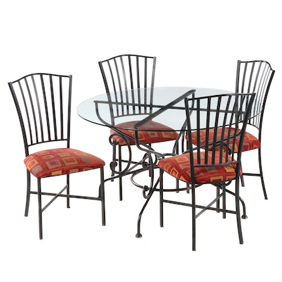 Metal Dining Table with Glass top and Four Chairs, Contemporary