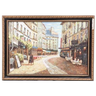 European Café Street Scene Oil Painting, 21st Century