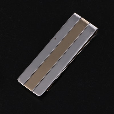 Tiffany & Co. Sterling Silver and 14K Gold Money Clip with Dust Pouch