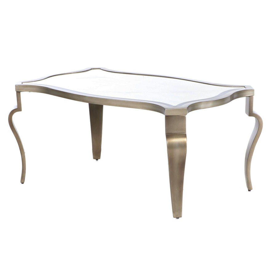 Hollywood Regency Style Silvered Wood Coffee Table with Tinted Glass Top
