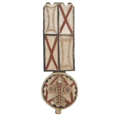 Bwa Style Polychrome Wooden Wall Hanging Mask, West Africa