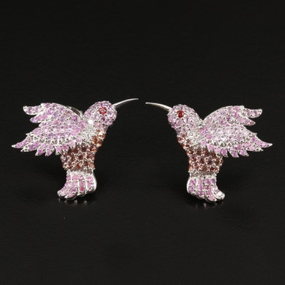Sterling Sapphire Hummingbird Button Earrings