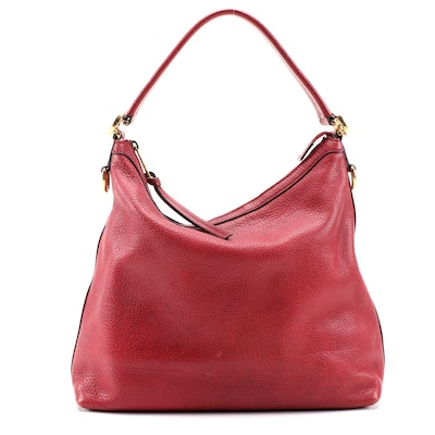 Gucci Miss GG Hobo Bag in Burgundy Grained Leather