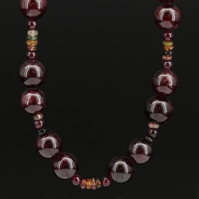 Sterling Rhodolite Garnet, Tourmaline and Cubic Zirconia Necklace