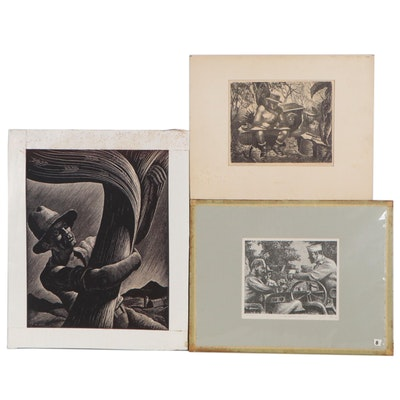 Joseph Di Gemma Lithographs and Woodcut, Mid to Late 20th Century