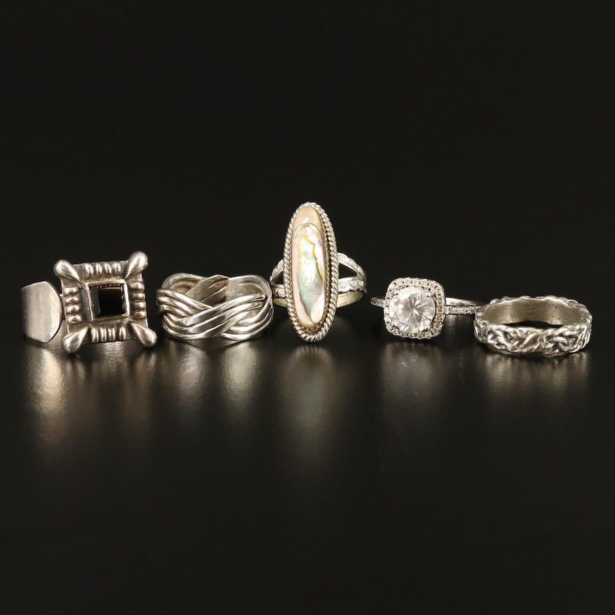 Sterling Rings with Abalone, Black Onyx and Cubic Zirconia