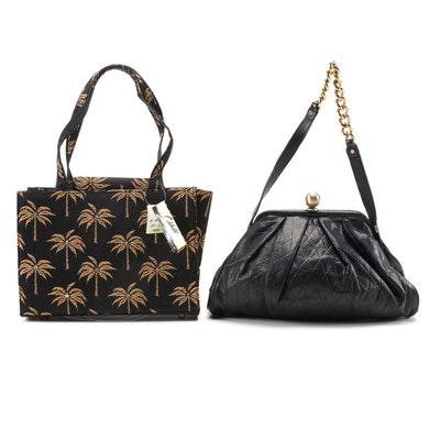 Sabina Diamond-Stitched Leather and Jacquard Embellished Palm Tree Shoulder Bags