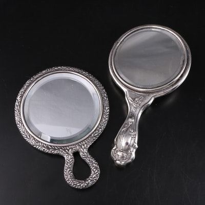 Sterling Silver Repousse Hand Mirrors with Garland and Rose Themes