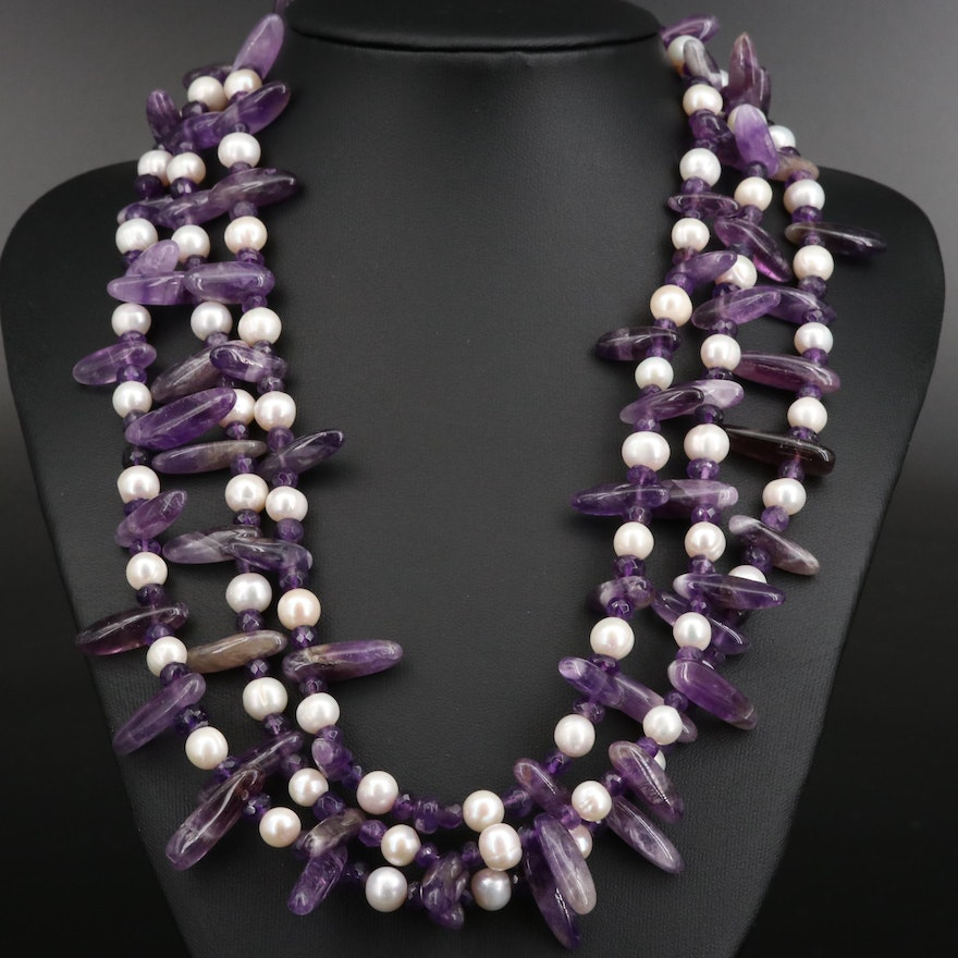 Sterling Silver Amethyst and Pearl Triple Strand Necklace