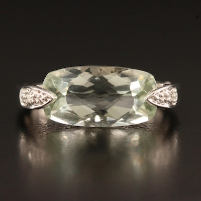 10K Prasiolite and Diamond Ring