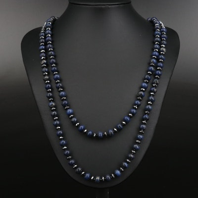 Sterling Silver Lapis Lazuli, Hematite and Spinel Double Strand Necklace