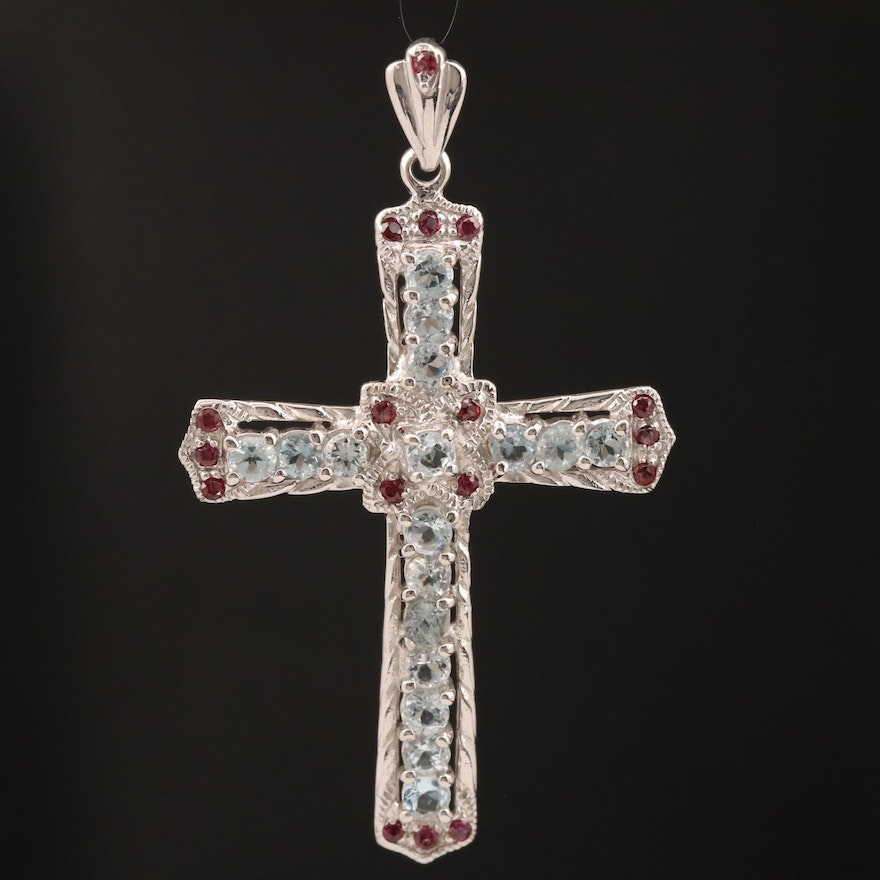 Sterling Silver Aquamarine Cross Pendant with Garnet Accents