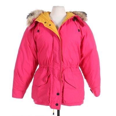 Nautica Goose Down Cotton Coat with Removable Fox Fur Hood Trim