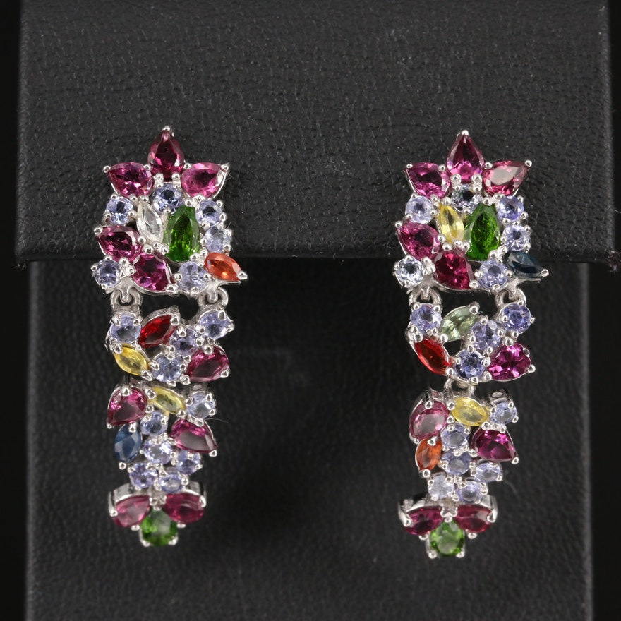 Sterling Silver Multi Stone Cluster Earrings