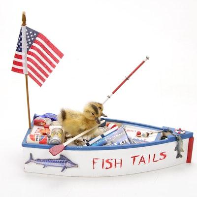 Two-Headed Taxidermy Gaff Duckling on Boat
