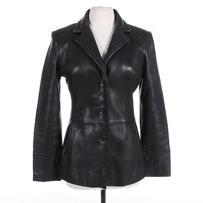 Jones New York Women's Leather Jacket with Stitch Detail