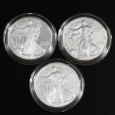 "2006 $1 American Silver Eagle ""20th Anniversary"" Three-Coin Set"