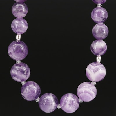Graduated Amethyst and Topaz Bead Necklace with Sterling Silver Clasp
