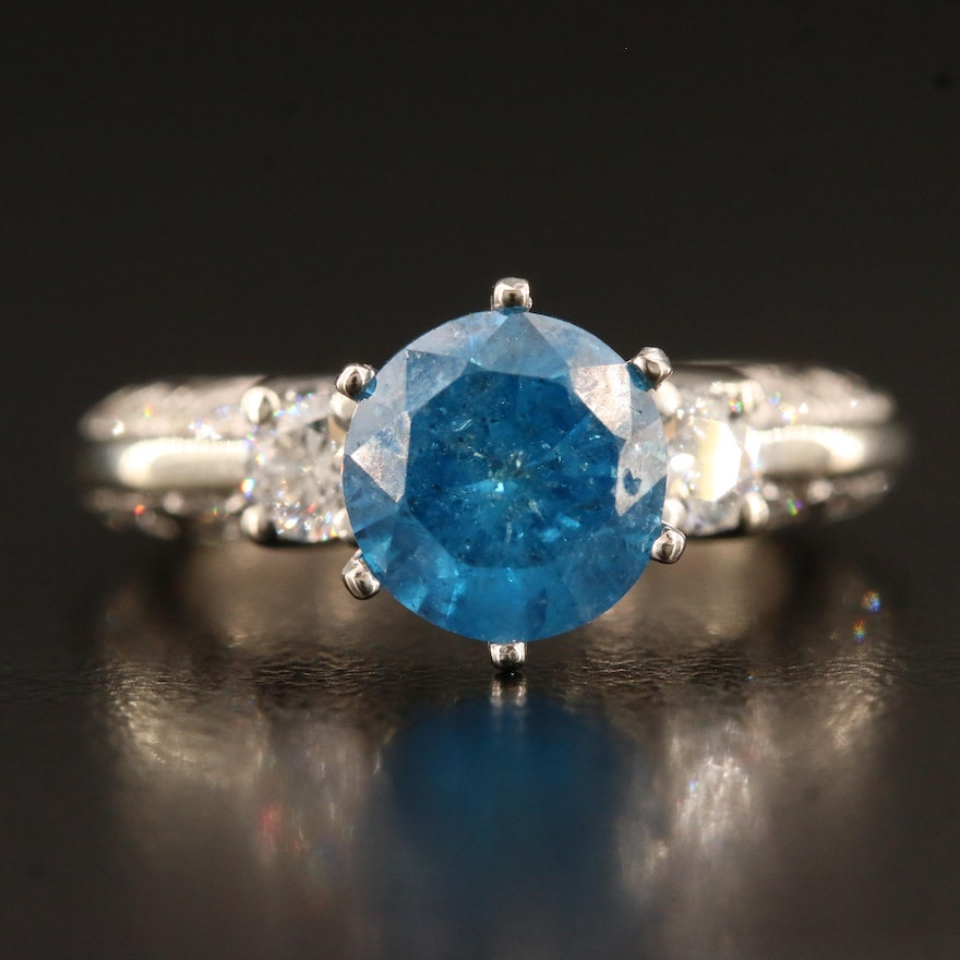14K 2.43 CTW Diamond Ring Featuring Blue Diamond Center and Knife Edge Design