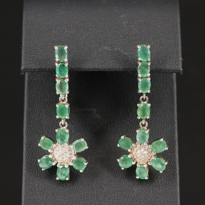 Sterling Silver Emerald and Cubic Zirconia Dangle Earrings with Floral Design