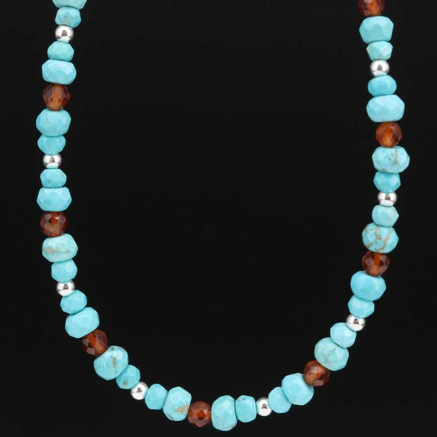 Turquoise, Hessonite and Diamond Bead Necklace with Sterling Silver Clasp