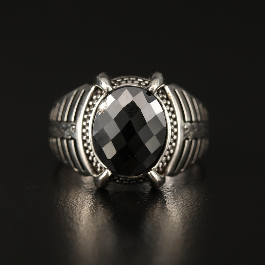 Sterling Silver Black Onyx Ring with Patterned Shoulders