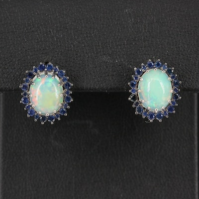 Sterling Silver Opal and Sapphire Halo Stud Earrings