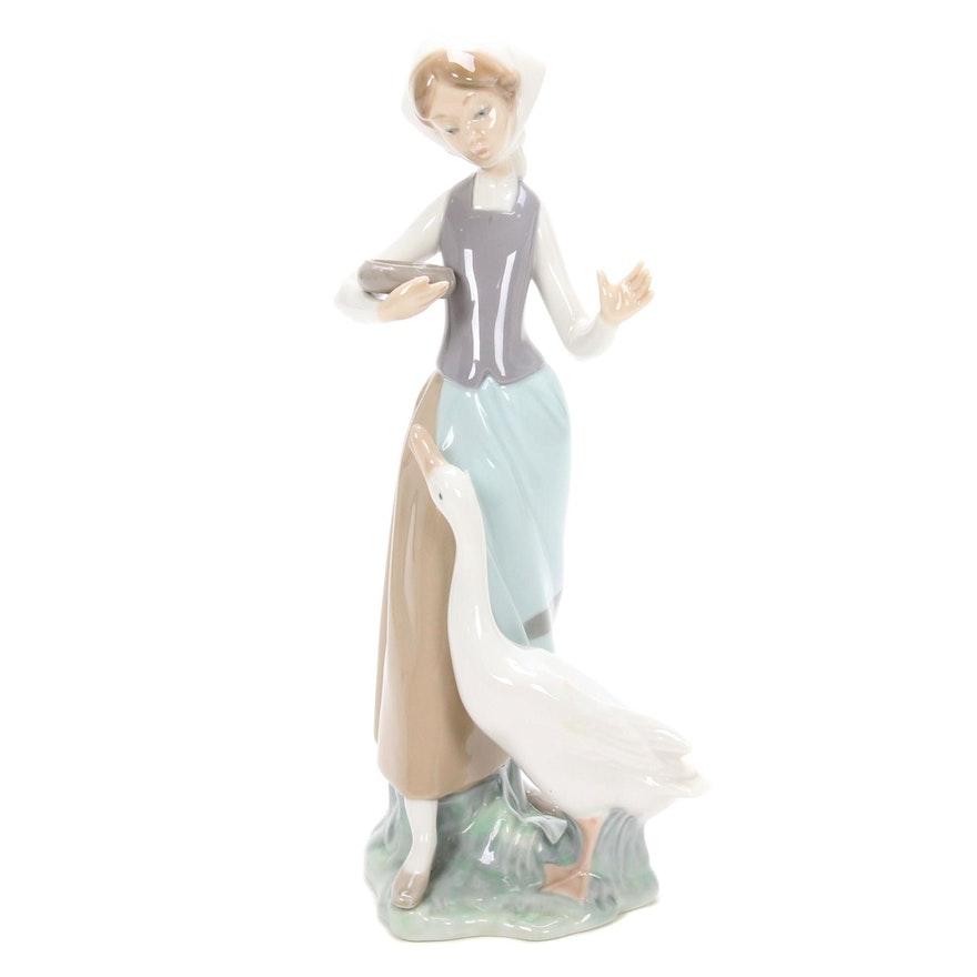 """Lladró """"Girl with Duck"""" Porcelain Figurine Designed by Vicente Martínez"""
