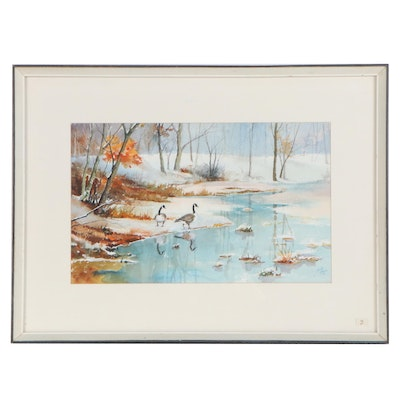 Bill Heins Watercolor Painting of Winter Landscape with Frozen Stream, 2000