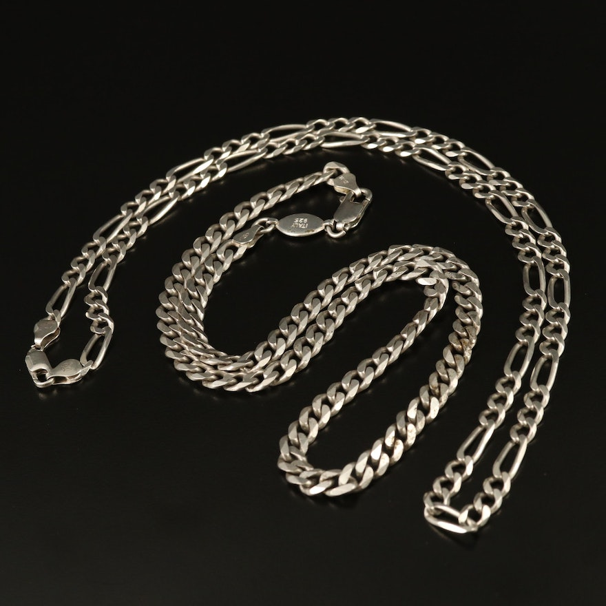 Sterling Silver Figaro and Curb Chain Necklaces