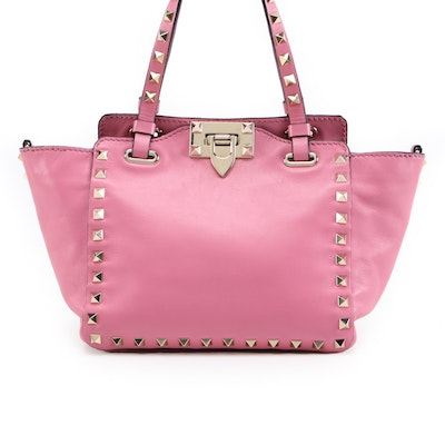 Valentino Mini Rockstud Two-Way Tote Bag in Pink Calfskin Leather