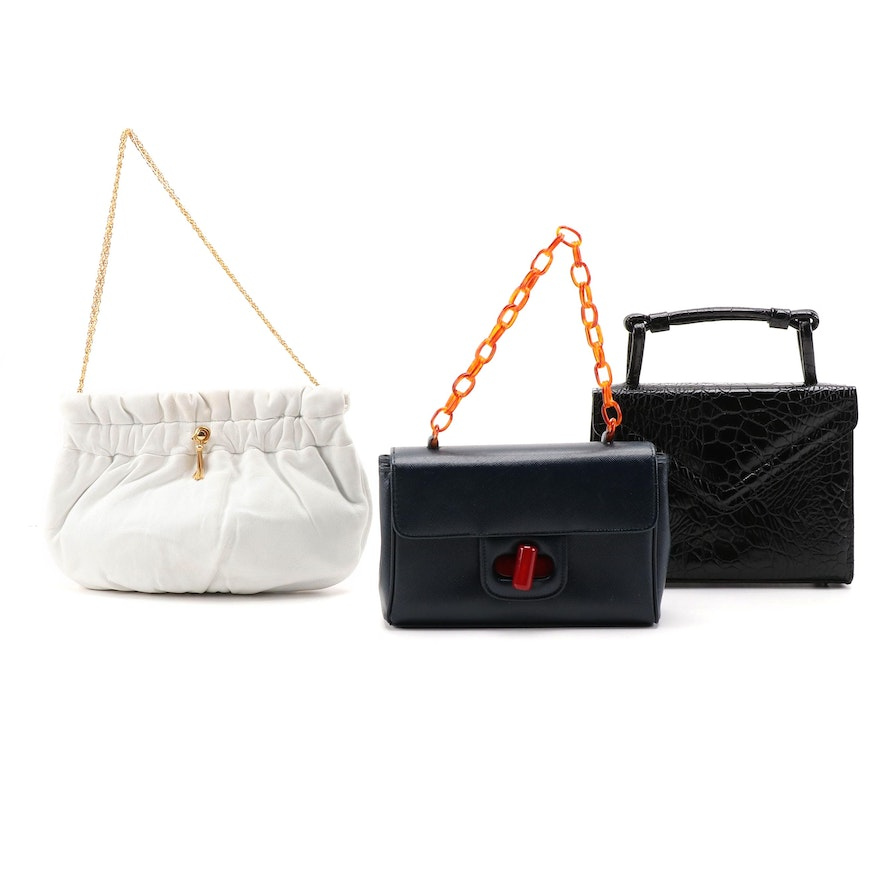 Morris Moskowitz Clutch with Empress and Ronay Leather Handbags, Vintage