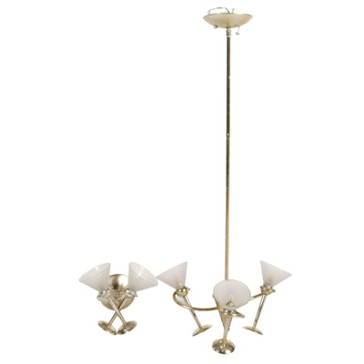 Contemporary ELK Lighting Martini Glass Lighting with Silver Leaf Finish