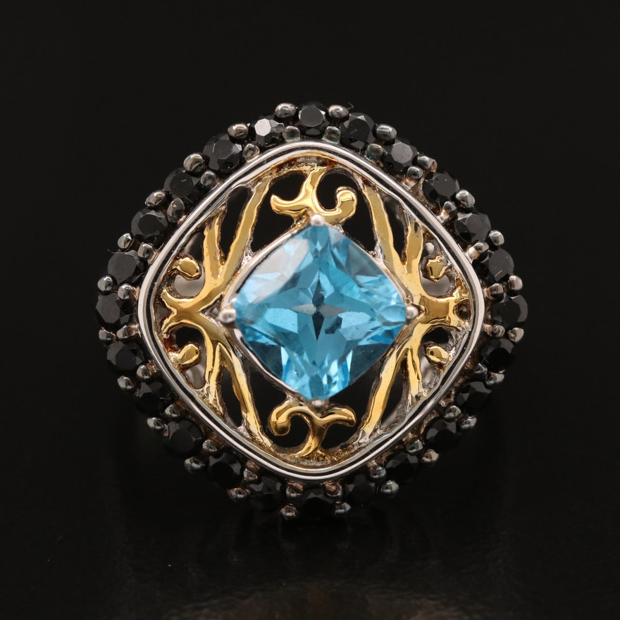 Sterling Silver Topaz and Black Onyx Ring with Openwork Design