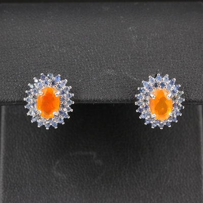 Sterling Silver Fire Opal and Sapphire Halo Stud Earrings