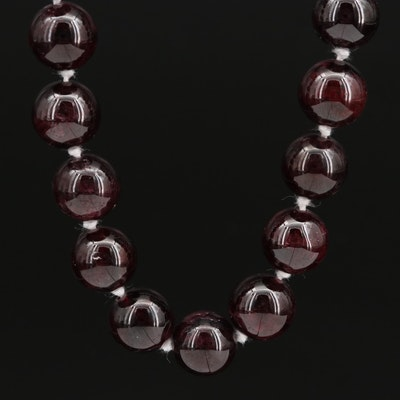 Hand Knotted Garnet Beaded Necklace with Sterling Clasp